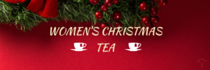 womens christmas tea w/ red background and wreath